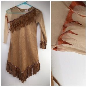 DIsney Pocahontas Tan Fringe Costume Dress